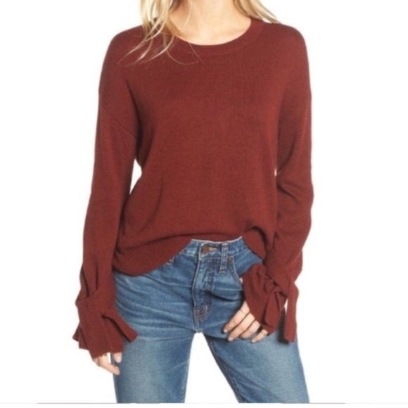 Madewell Knit Tie Cuff Pullover Crew Neck Sweater 3d636df8a
